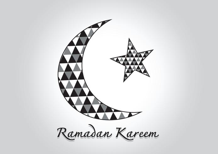 Ramadan Kareem Lua colorida e estrela para o mês sagrado dos muçulmanos