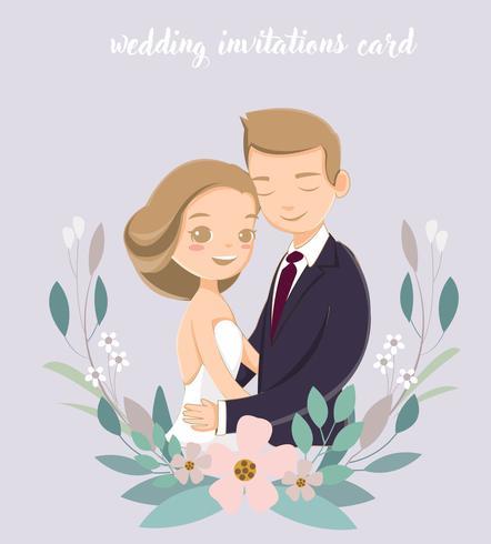 linda novia y el novio para las invitaciones de boda tarjeta vector
