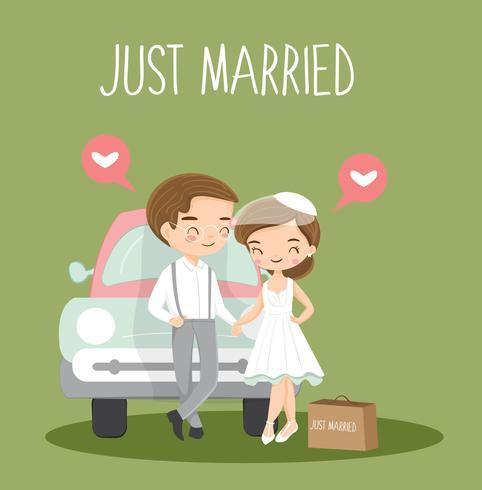 schattig romantisch koppel met koffer en auto voor reizen naar huwelijksreis.