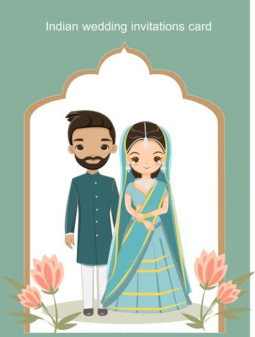 Cute Indian Bride And Groom In Traditional Dress For Wedding