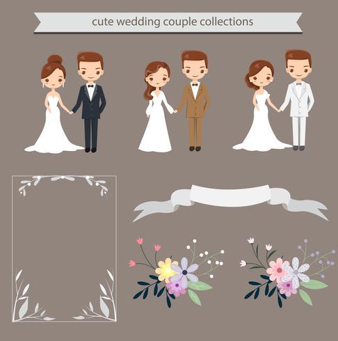 jolis mariés et éléments pour modèle de carte invitations de mariage