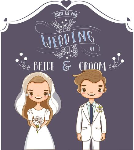 Cute Bride And Groom For Wedding Invitations Card Download