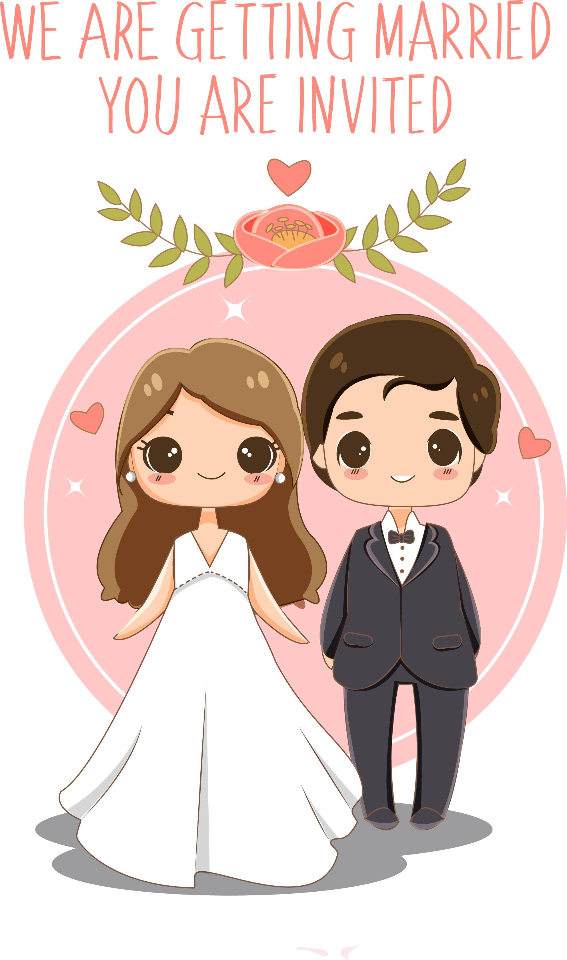 Cute Bride And Groom For Wedding Invitations Card Download Free Vectors Clipart Graphics Vector Art