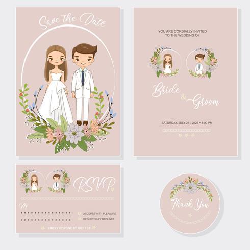 mignonne mariée et le marié sur le modèle de carte invitations de mariage