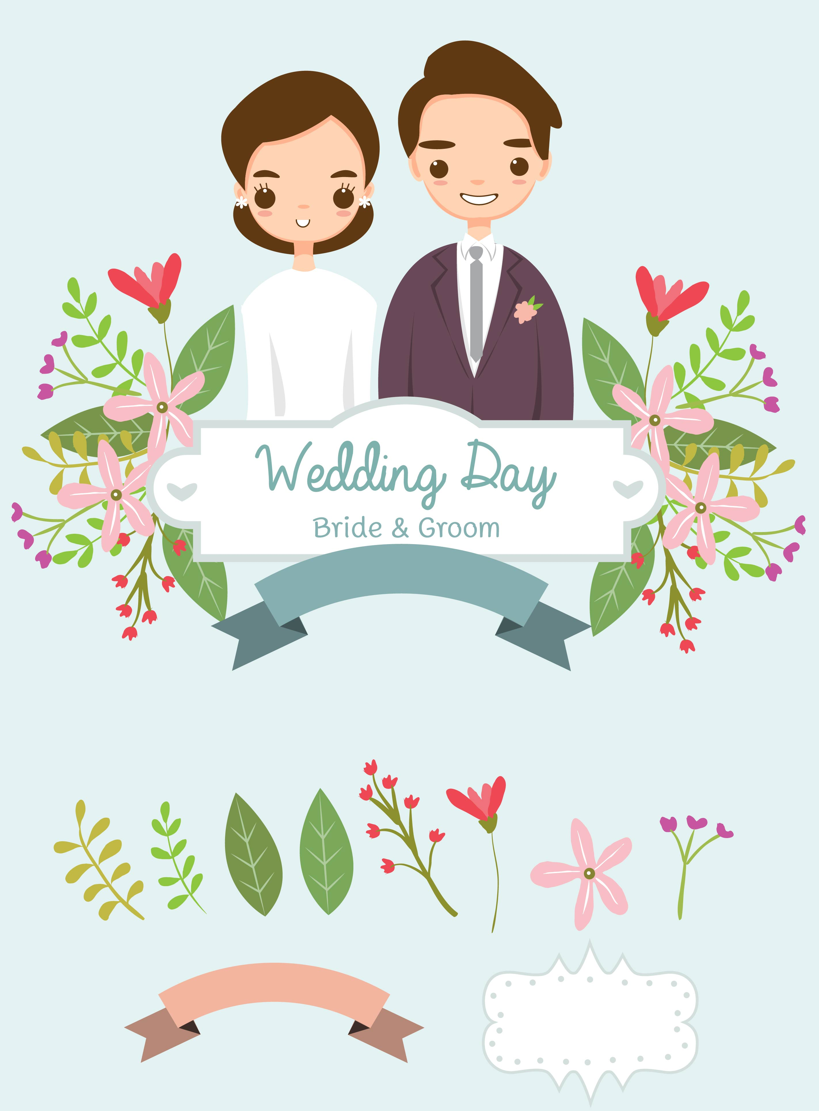 cute bride and groom and elements for wedding invitations