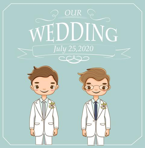 cute lgbt couple for wedding invitations card