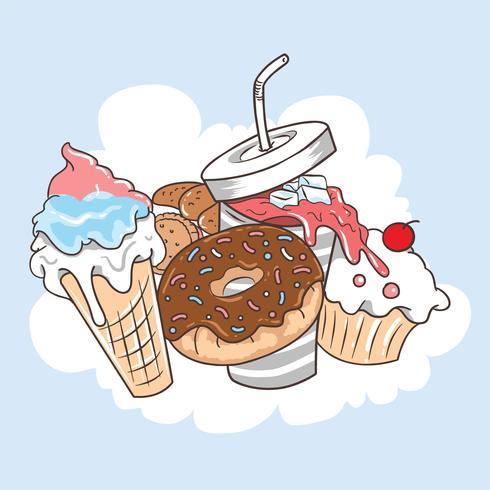 FOOD DOUGHNUT CAKE ICECREAM AND COLA vector