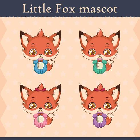 Cute baby fox mascot set - drinking pose