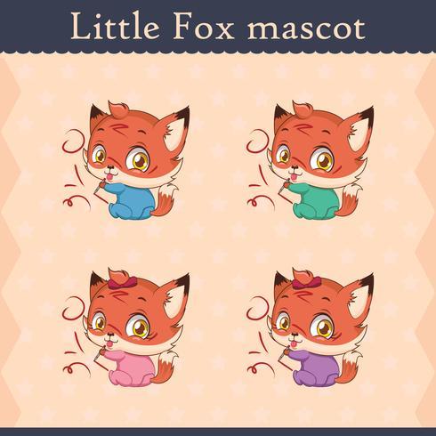 Cute baby fox mascot set - mischievous pose