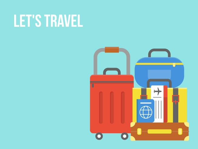 Let's travel, Luggage with ticket and passport vector