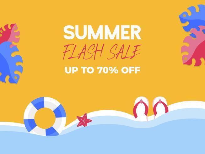 Summer Flash Sale, elementos de verano en la playa.