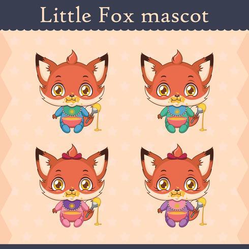 Cute baby fox mascot set - eating pose vector