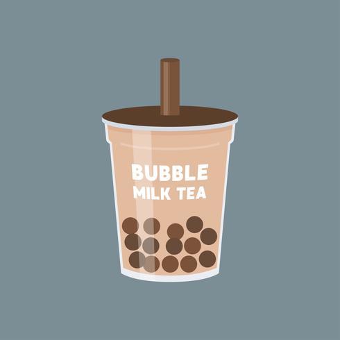 Ilustración de vector de té de burbuja o té de leche de perla