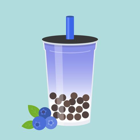Blueberry Bubble tea, Pearl melkthee vectorillustratie