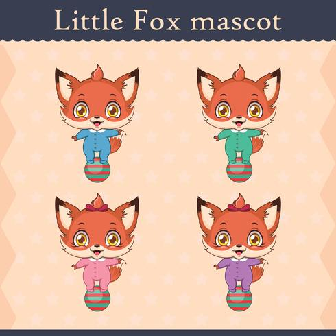 Cute baby fox mascot set - balancing pose