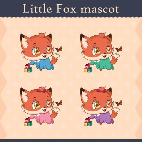 Cute baby fox mascot set - curious pose