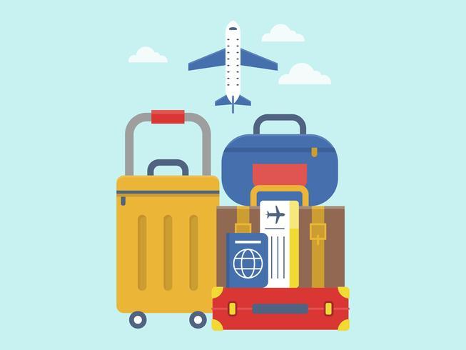 Reizen, bagage met ticket en paspoort vector