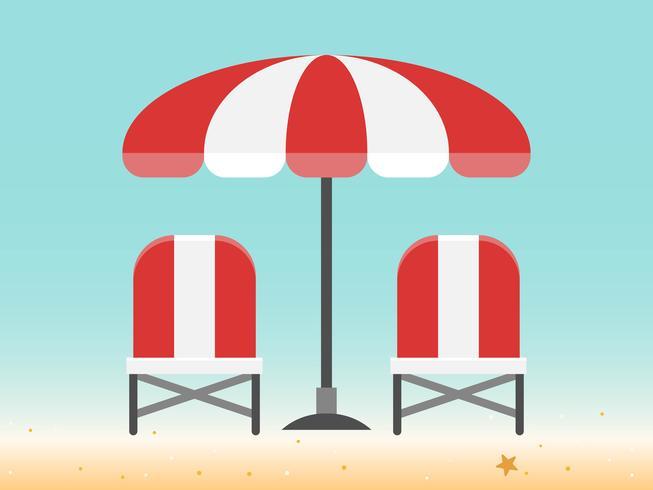 Sedie a sdraio e ombrellone in spiaggia