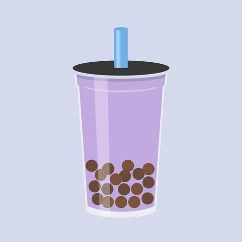 Taro Bubble tea, Pearl melkthee vectorillustratie
