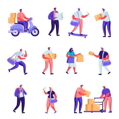 Set di caratteri di servizio di consegna postale piatta. Le persone dei cartoni animati consegnano pacchi, cartoline, posta in tutto il mondo via terra e trasporto aereo. Illustrazione vettoriale