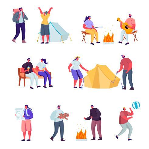 Conjunto de estilo de vida plano ativo fora da cidade em caracteres de acampamento de verão. Desenho Animado Pessoas Caminhadas Turísticas, Andar Hoverboard, Fazendo Yoga Ao Ar Livre, Andar Com O Animal De Estimação. Ilustração vetorial.