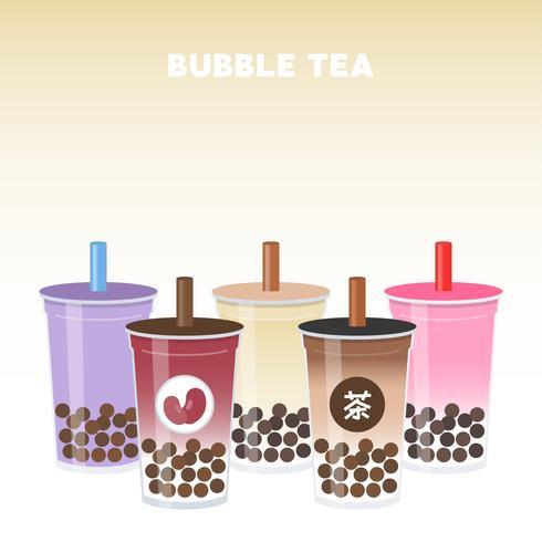 Illustrazione di vettore dell'insieme di tè del latte di perla o del tè della bolla