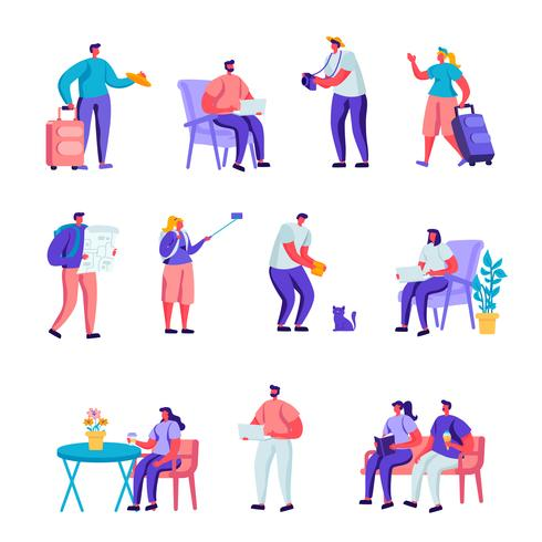 Set van plat diverse jongeren met bagage en kaarten reizende personages. Cartoon mensen toeristische personages 's nachts blijven, accommodatie voor reizigers. Vector illustratie