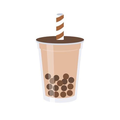 Tè della bolla o illustrazione di vettore del tè del latte perlato