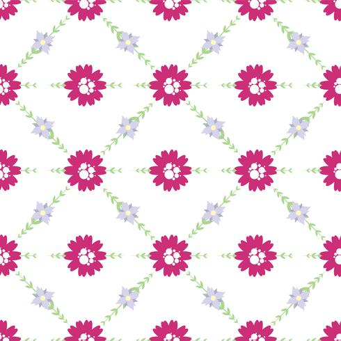 Vector pattern of flowers, twigs and leaves