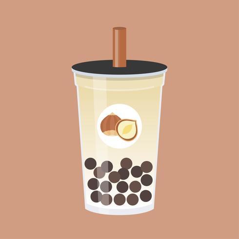 Hazelnoot Bubble tea, Pearl melkthee vectorillustratie
