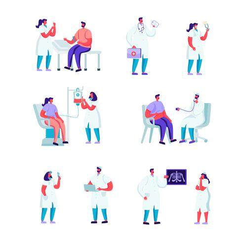 Set van platte bloeddonatie in een medische instelling tekens. Cartoon mensen vrouw bij arts afspraak. Medische controle, echografie, vrijwilligers die bloed doneren. Vector illustratie