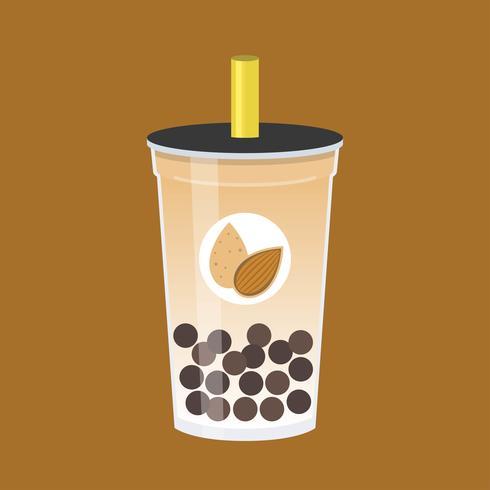 Chá de amêndoa bolha, ilustração em vetor chá de leite pérola