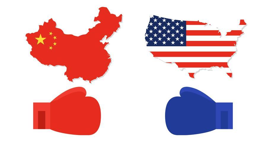 Carte des États-Unis et de la Chine avec des gants de boxe rouges et bleus