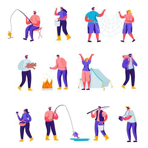 Conjunto de personajes de actividades al aire libre plana. Dibujos animados de personas que tienen ocio activo en la naturaleza, cortar leña, pescar, recolectar setas en el bosque, fotografiar. Ilustracion vectorial