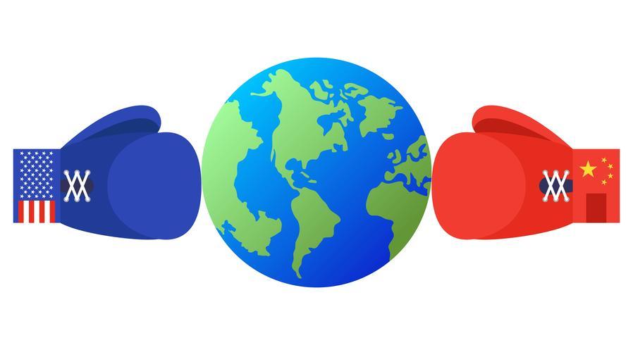 Tierra entre los guantes de boxeo azul y rojo con bandera de Estados Unidos y China