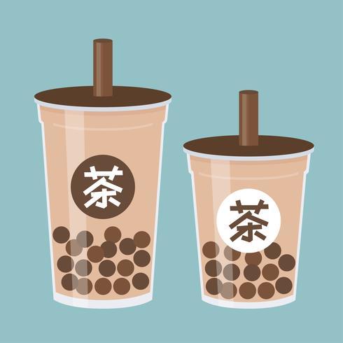 Bubbla te eller pärlemjölk tevektorillustration