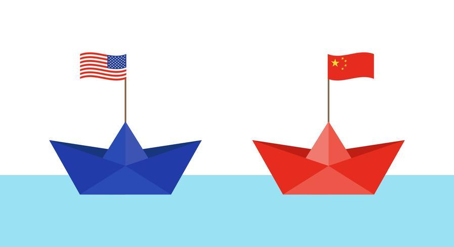 Blauw papier boot met vlag van Verenigde Staten en rood papier boot met vlag van China