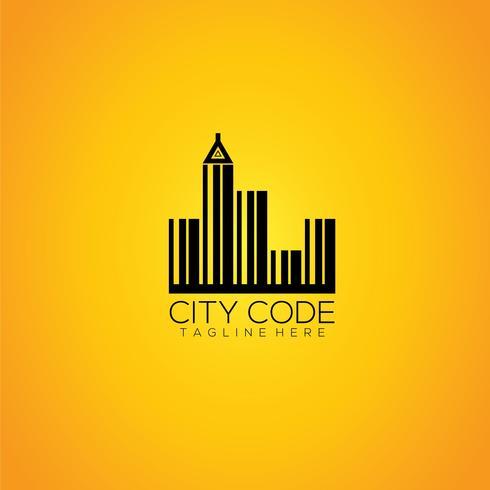 Modelo de logotipo de vetor de código de cidade