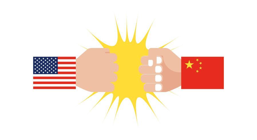 Mano con manica bandiera USA e Mano con manica bandiera Cina
