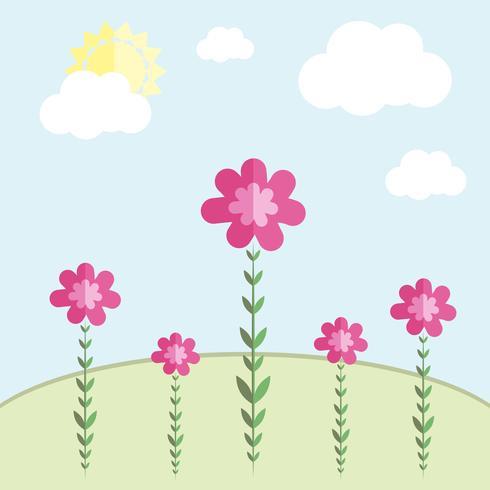 Vektorblumen auf einer Wiese gegen den Himmel