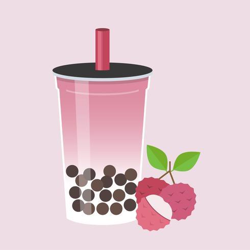 Tè della bolla del litchi, illustrazione di vettore del tè del latte perlato