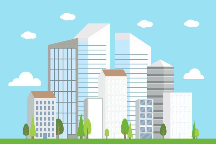 Stad Downtown landschap, modern gebouw vectorillustratie