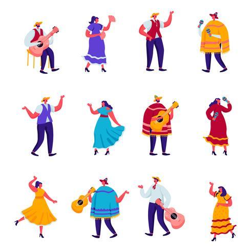 Conjunto de celebración plana de un tradicional día de fiesta mexicano en personajes coloridos trajes tradicionales. Cartoon People Festival Músicos con guitarras, maracas y acordeón. Ilustracion vectorial