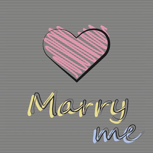 Vector illustratie met een hart op een donkere achtergrond. Uitnodiging om te trouwen