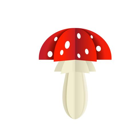 Vector mushroom from a paper on a white background