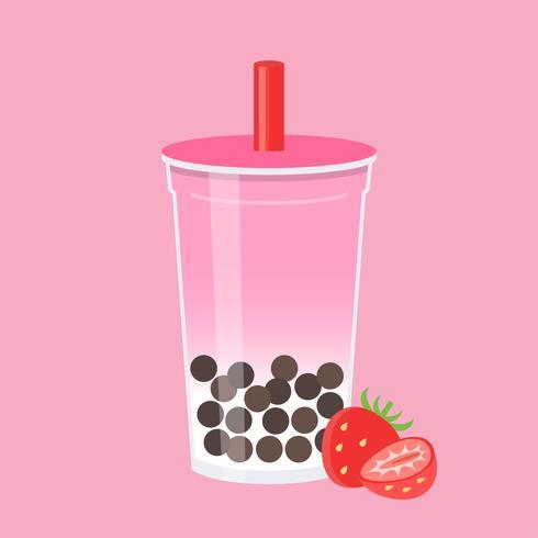 Tè della bolla della fragola, illustrazione di vettore del tè del latte perlato