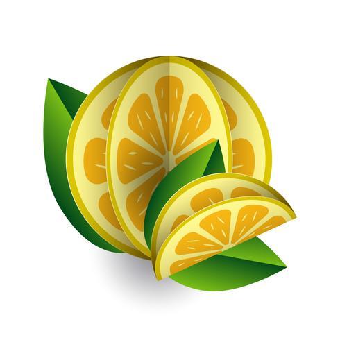 Volumetrico del taglio della carta della frutta esotica di estate tropicale di vettore. Origami. Oggetto di colore isolato su sfondo bianco. Giallo limone e una fetta