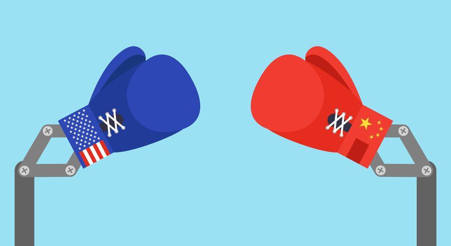 Blauwe speelgoed bokshandschoenen arm met vlag van de VS en Rode speelgoed bokshandschoenen arm met vlag van China