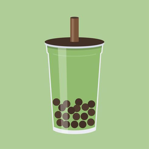 Matcha-Blasentee, Perlenmilchtee-Vektorillustration