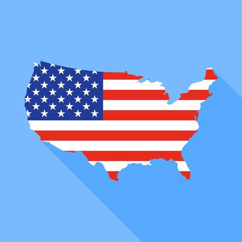 Mapa de Estados Unidos con la ilustración de vector de larga sombra